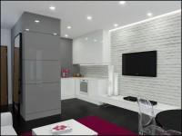 nowoczesna kuchnia otwarta na salon w kolorystyce biel i szarości z delikatnym akcentem bordo