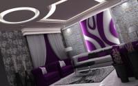 nowoczesna i piękna aranżacja salonu, niesamowite wzory na suficie z podświetleniem led