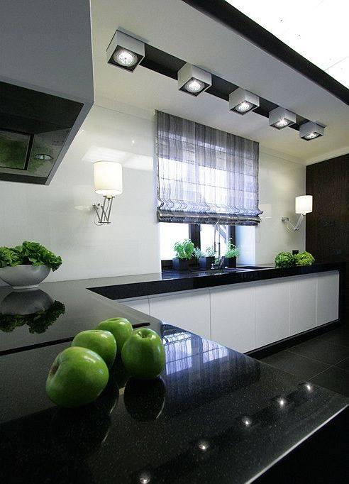 nowoczesna aranżacja surowej kuchni biało czarna zimna, ale fascynująca