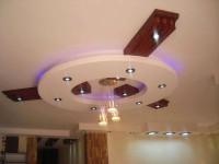 koło na suficie obniżony nowoczesny sufit z oświetleniem