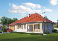 LK&447 to projekt domu parterowego z garażem na 2 samochody. Jest to niewielki (83.44m2), al ...