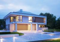 LK&1207 projekt nowoczesnego domu jednorodzinnego, pietrowego z garażem 2-stanowiskowym w br ...