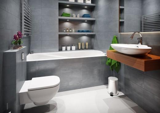 Wygodna, przestronna stylowa łazienka w ciemnej tonacji z charakterystycznym drewnianym blatem ...