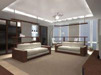 Aranżacja salonu wraz oświetleniem led i sufitem podwieszanym.