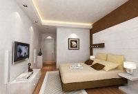 Oświetlenie oraz sufit podwieszany w sypialni.