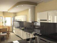 Projekt kuchni z sufitem podwieszanym i oświetleniem