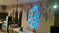 Panel ścienny TKLED, wzór w słoneczniki, wymiar 170 x 70 cm, wbudowana instalacja LED RGB