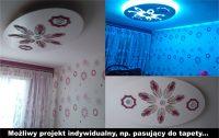 Sufit podwieszany, plafon tkled, lampa wisząca wycięta z drewna, projekt na wzór tapety, wykonaw ...
