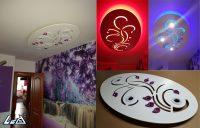 sufit podwieszany, plafon tkled, lampa wisząca, wymiar 70 x 115 + nakładki 3D w kolorze fioletowym
