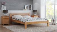 Meble Magnat – łóżko Azja w kolorze olchy, z dodającym prestiżu, widocznym usłojeniem.