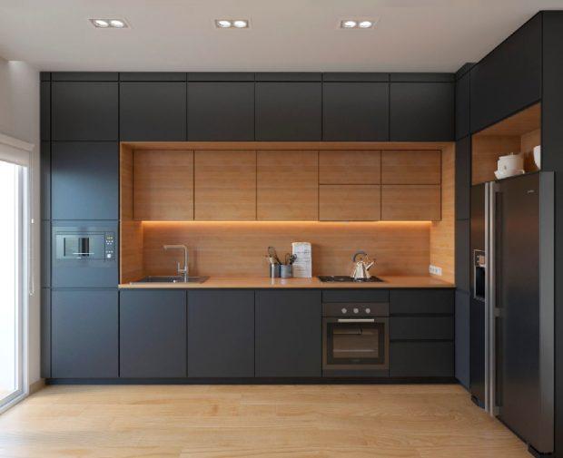 ciemne meble w kuchni, kuchnia w kolorach czerni i pomarańczy