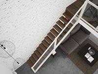 Rintal Polska, schody policzkowe Brick ze szklaną balustradą. Drewniana konstrukcja w kolorze bi ...