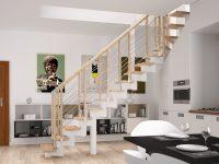 Rintal Polska, schody Knock 06 z balustradą Filo drewno. Konstrukcja metalowa w kolorze białym.  ...