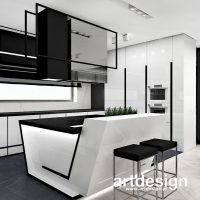 Nowoczesna kuchnia w bieli i czerni, z oryginalną asymetryczną wyspą. LITTLE BY LITTLE | Wnętrza ...