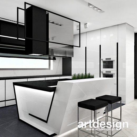 Nowoczesna kuchnia w bieli i czerni, z oryginalną asymetryczną wyspą. LITTLE BY LITTLE   Wnętrza ...