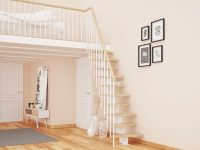Fot. Rintal Polska, schody Mini Plus Konstrukcja metalowa malowana proszkowo na kolor biały. Sto ...