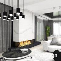 Nowoczesny salon z kominkiem. Minimalistyczne, proste formy i ponadczasowe eleganckie materiały, ...