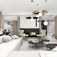 Pełne harmonii i ciepła wnętrze salonu z kominkiem. PERFECT MATCH | Wnętrza domu