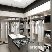 Jak urządzić wygodną garderobę? To nasza propozycja eleganckiej garderoby z wyspą pośrodku, któr ...