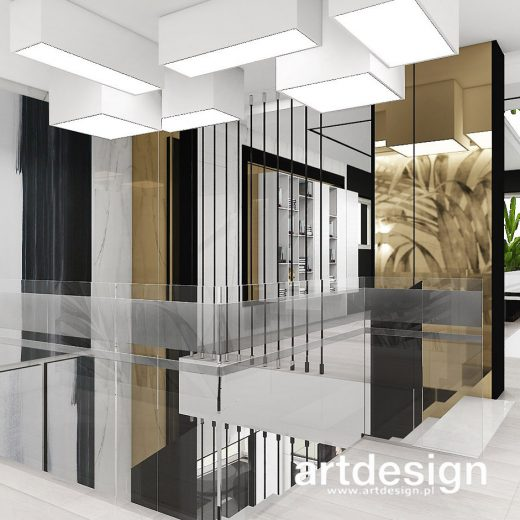 Projekt klatki schodowej i holu na piętrze. TURN-UP FOR THE BOOKS   I   Wnętrza domu
