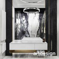 Nowoczesna łazienka, zaprojektowana z wykorzystaniem eleganckich materiałów o niepowtarzalnej fa ...