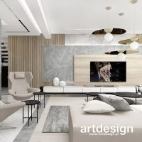 Nowoczesne, minimalistyczne wnętrze salonu. Zrównoważona kompozycja naturalnych materiałów w cie ...