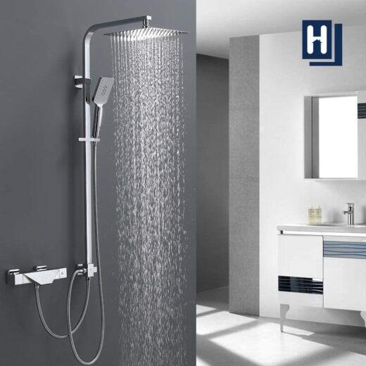 Homelody Badezimmer Separate Installation duscharmatur 3 Funktions Thermostat Duschset mit Wasse ...