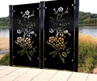 Ażurowe panele dekoracyjne z metalu do ogrodu. Dekoracyjne, filigranowe wzory wycięte w ocynkowa ...