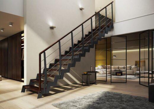 Rintal Polska, schody Loft w stylu loftowym Stopnie z mozaiki bukowej w kolorze ciemnego orzecha ...