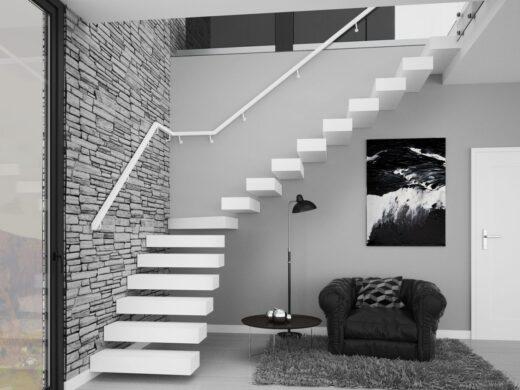 Rintal Polska, schody Teno w stylu minimalistycznym Stopnie z mozaiki bukowej w kolorze kryjącym ...