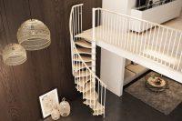 Fot. Rintal Polska, model Trio Plus Schody kręcone oparte na metalowej konstrukcji w kolorze bia ...